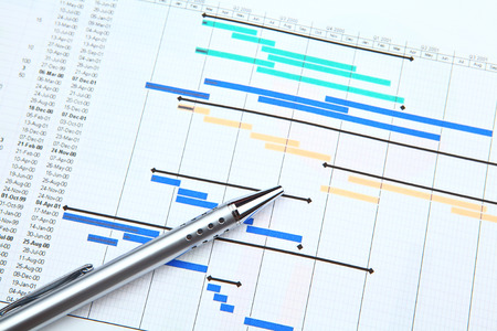 Gantt chart and pen photo
