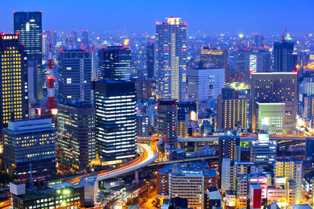 and scape: Osaka cityscape at night