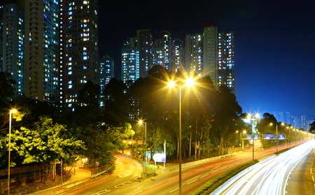 Residential district in Hong Kong at night photo