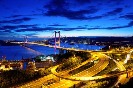 Bridge in Hong Kong at night photo