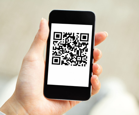 QR code on mobile Stock Photo