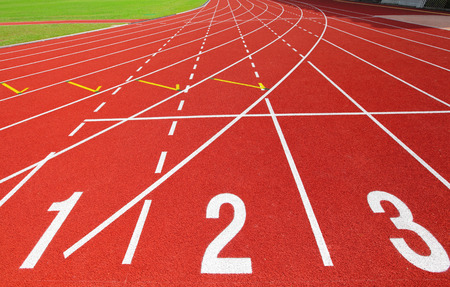 Red running track with number photo