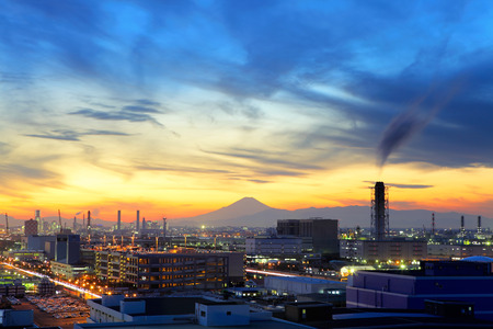 Industrial plant during evening photo