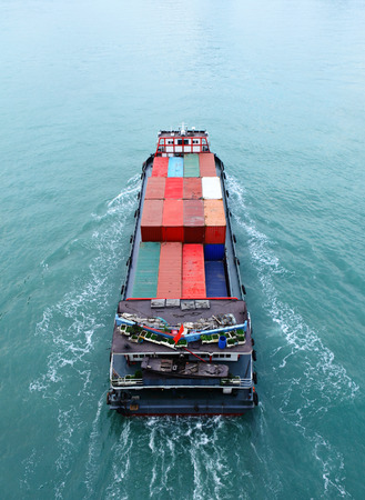 Cargo ship from top photo