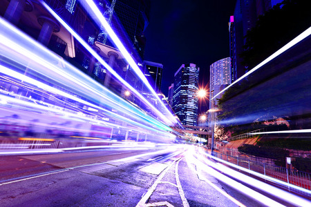 Fast moving car light in Hong Kong photo