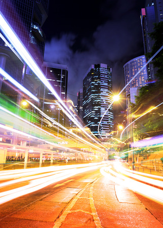 Hong Kong traffic trail at night photo