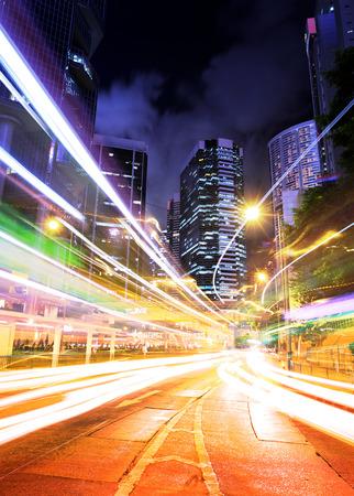 Hong Kong traffic trail at night photo