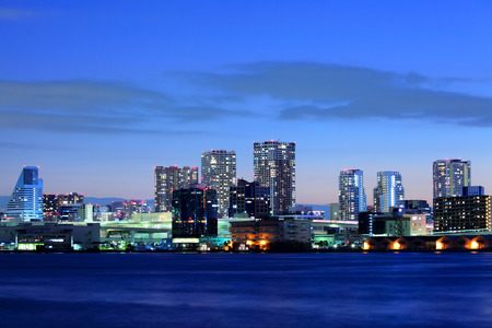 sea scape: Tokyo downtown at night Stock Photo