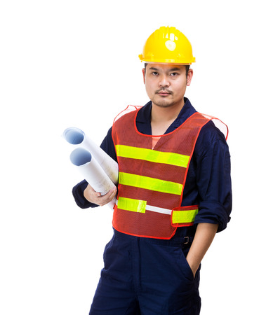 Asia construction worker with layout drawing photo