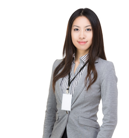 name badge: Asia woman isolated