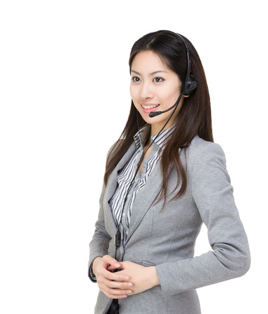 Asia businesswoman customer service looking at a side photo