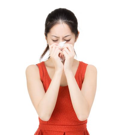 Asia woman sneeze photo