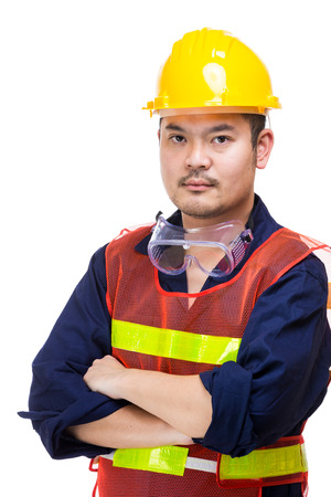 safety googles: Asian engineer worker isolated