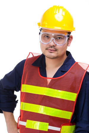 safety googles: Asian construction worker