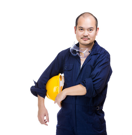 Asia construction worker with helmet photo