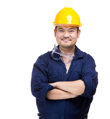 Happy asia construction worker photo