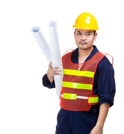 Asia construction worker with blue print photo