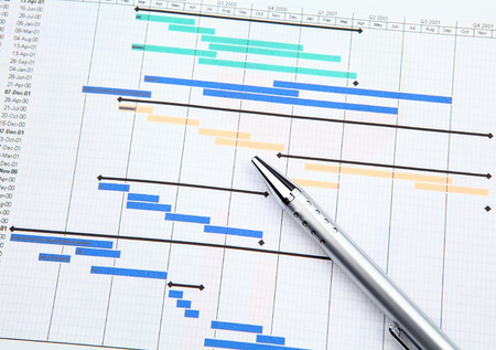 construction project: Project management with gantt chart Stock Photo