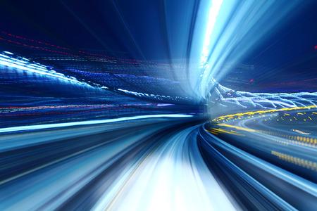 light speed: Truck light trail of train