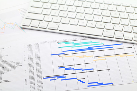 gantt: Project management with gantt chart and keypad Stock Photo