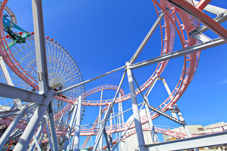 Amusement park with clear blue sky photo