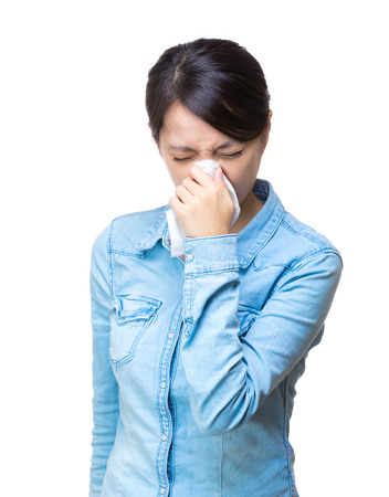 Asian woman sneeze isolated photo