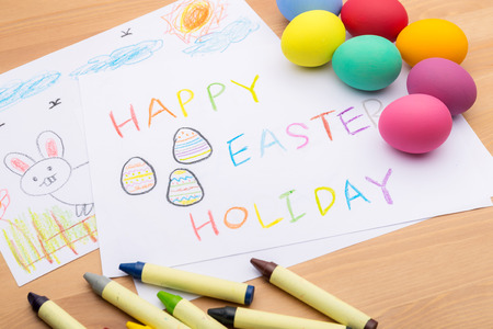 Children drawing for easter holiday photo