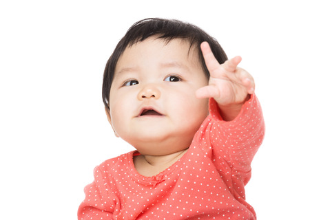 front raise: Asian baby girl hand up