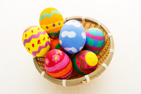 Colourful pattern easter eggs in basket photo