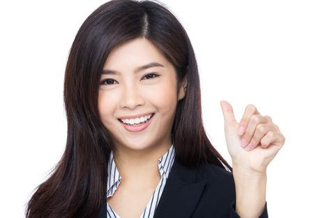 Asian businesswoman thumb up