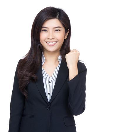 mujeres peleando: Mujer de negocios alegre asia
