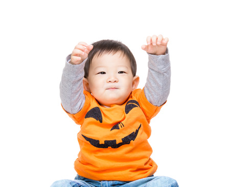 Baby boy with halloween party look Stock Photo