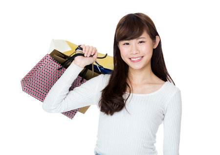 Asian woman with shopping bag photo