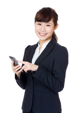 Asia business woman using mobile photo