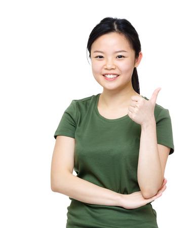 Asia woman thumb up
