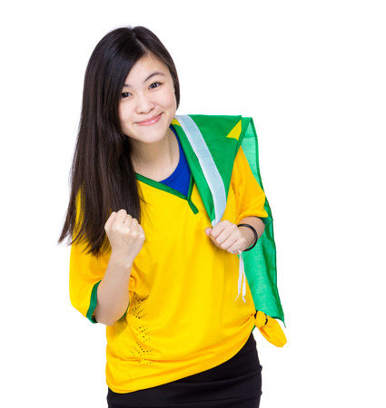 Asia woman hold Brazil flag photo