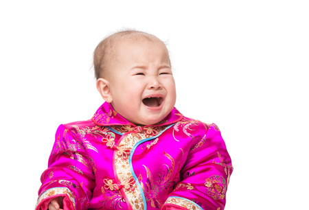 Chinese baby girl crying photo