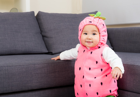 Asia baby with halloween dressing photo