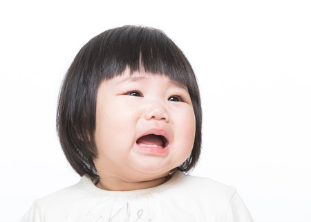 Asia little girl cry photo