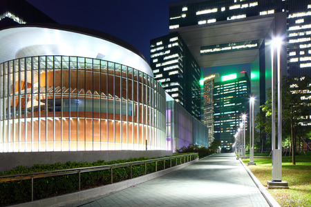 headquarter: Government headquarter in Hong Kong at night