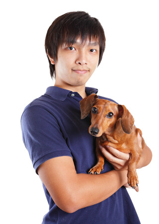 Asia man with dog photo