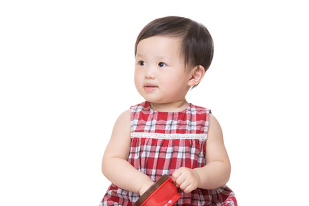 Asian little girl with snack box photo
