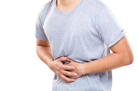 dolor de estomago: Hombre con dolor de est�mago Foto de archivo
