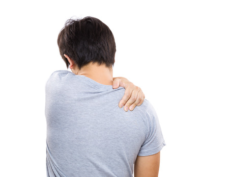 old man on a physical pressure: Man having neck pain