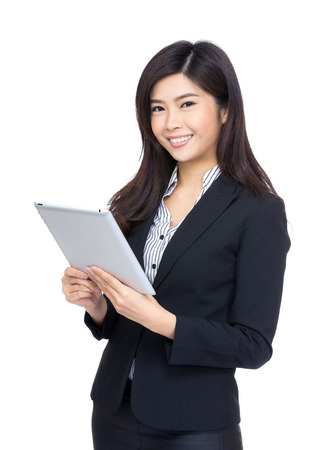 Woman using digital tablet computer  photo