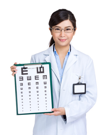Optician woman showing eye exam chart photo
