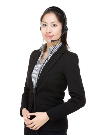 Support phone operator in headset photo