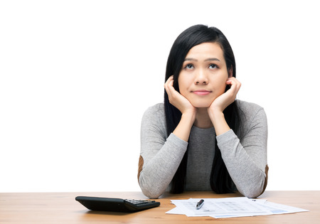 expenditure: Asia woman worry about expenditure