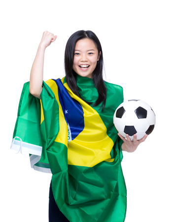 Excited asian soccer fans photo