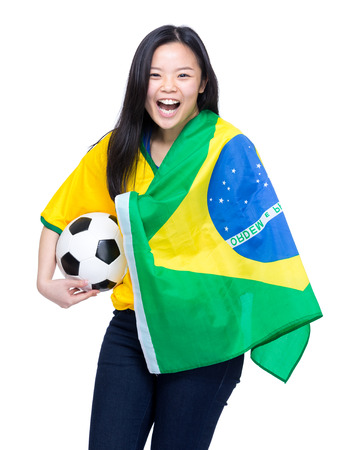 Cheering brazilian sports fans photo